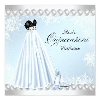 Baby Blue Snowflake Quinceanera Invitations