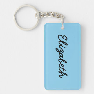 Baby Blue Solid Color Double-Sided Rectangular Acrylic Keychain