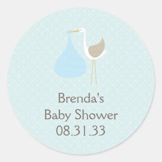 Baby Blue Stork Invitation Round Sticker