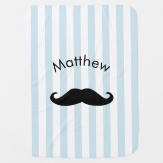 Baby Blue Striped Hipster Moustache for Boy Baby Blanket