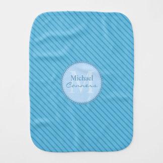 Baby Blue Stripes Custom Monogram Burp Cloth
