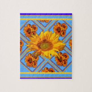Baby Blue Sunflower Design Jigsaw Puzzle