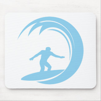 Baby Blue Surfing Mouse Pad