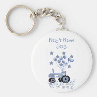 Baby Blue Tractor with Balloons Keychain