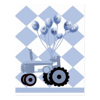 Baby Blue Tractor with Balloons Postcard