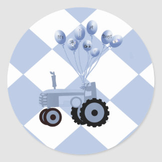 Baby Blue Tractor with Balloons Stickers