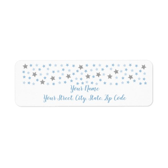 Baby Blue Twinkle Star Baby Shower Address