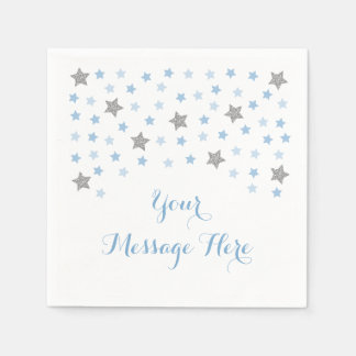 Baby Blue Twinkle Star Baby Shower Disposable Napkins