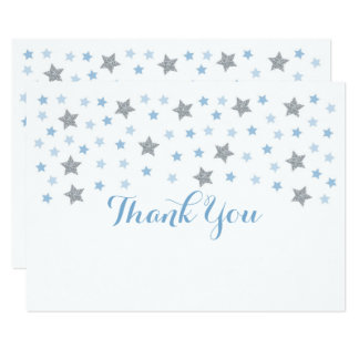 Baby Blue Twinkle Star Thank You Card