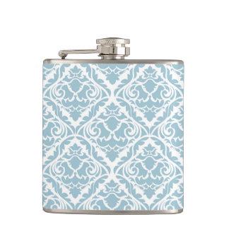 baby blue,vintage damasks,victorian,floral,pattern hip flask
