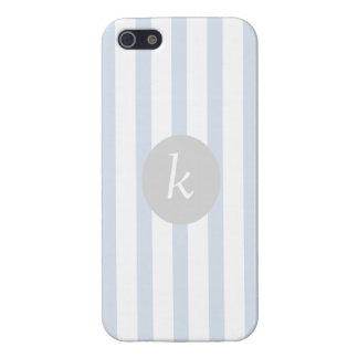 Baby Blue Vintage Striped Personalized Iphone 5 iPhone 5/5S Case