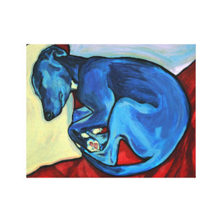 'Baby Blue' Whippet Puppy Canvas Print