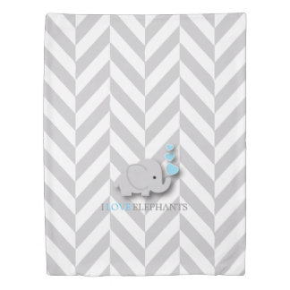 Baby Blue, White and Gray Elephant Theme Duvet Cover
