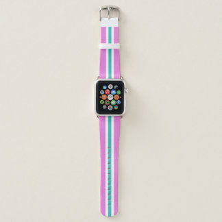 Baby Blue White and Pink Racing Stripe Apple Watch Band