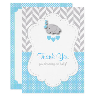 Baby Blue, White Gray Elephant Thank You Card