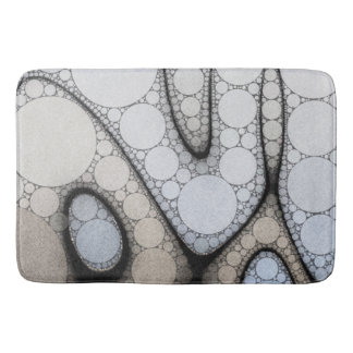 Baby Blue White Grey Circle Pattern Bath Mat