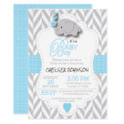 Baby Blue, White Grey Elephant Baby Shower Card