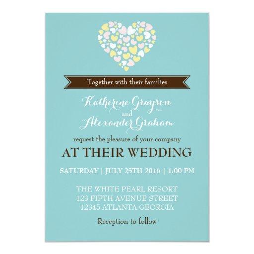 Baby Blue Wedding Invitations: Baby Blue White Small Hearts Wedding Invitation