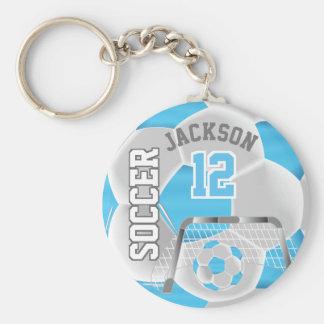Baby Blue & White Team Soccer Ball Keychain