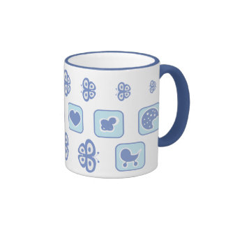 baby blue with butterfly tea cup ringer coffee mug