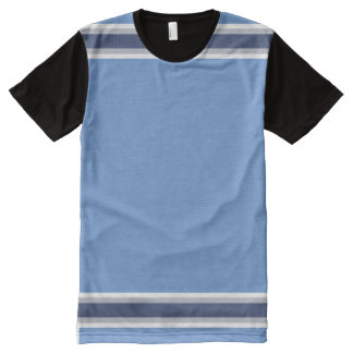 Baby Blue with White Gray and Navy Stripes