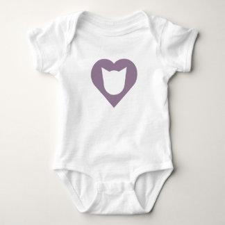Baby Bodysuit with Cat and Medium-Purple Heart