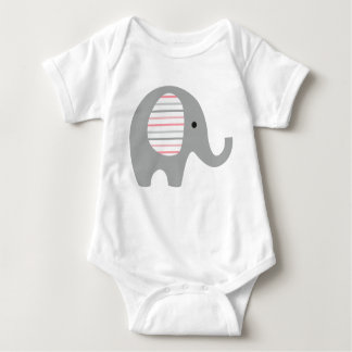 Baby Bodysuit with Grey Elephant/ pink lined ears