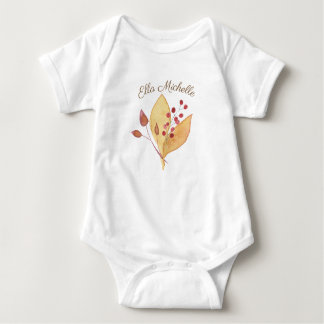 Baby Bodysuit with Leaves & Cranberries Holiday