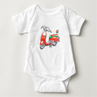 Baby bodysuit with scooter
