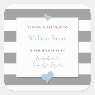 Baby Bookplate Grey Stripes Light Blue Hearts Square Sticker