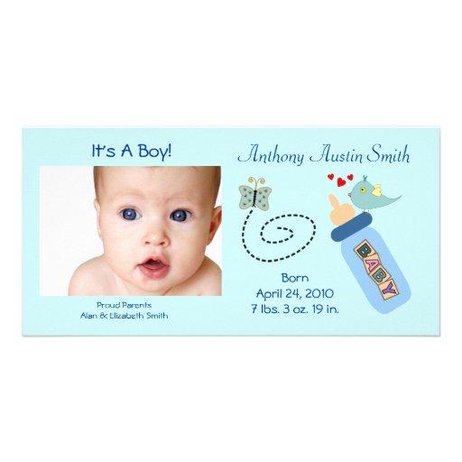 Baby Bottle Blue Photo Cards