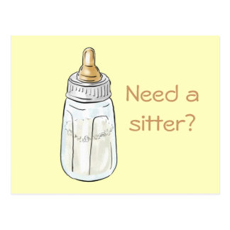 Baby bottle on yellow, Need a sitter? postcard