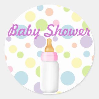 Baby Bottle & Polka Dots Baby Shower Sticker/seal Classic Round Sticker