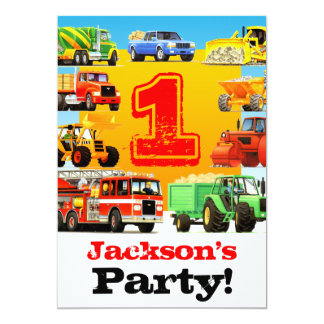 Baby Boy 1st Birthday Big Trucks Party Card
