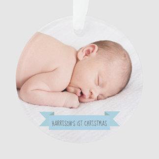 Baby Boy 1st Christmas Photo Holiday Elegant Ornament