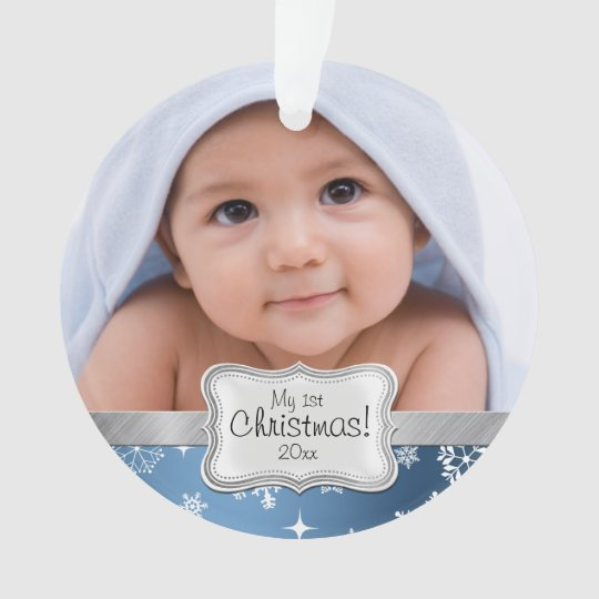 Baby Boy 1st Christmas with Snowflakes