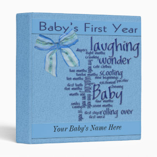 Baby Boy 1st Year Album 3 Ring Binders