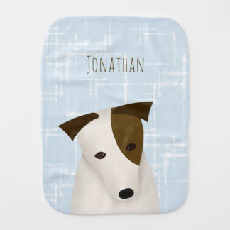 baby boy abstract squares Jack Russell cute dog Burp Cloth