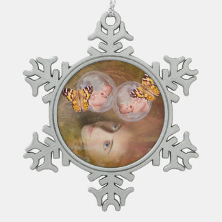 Baby boy and girl twins snowflake pewter christmas ornament
