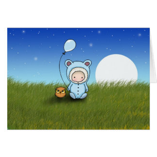 Baby Boy and Owl Birthday Card