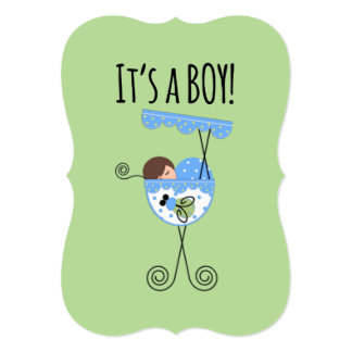 Baby Boy Announcement Blue and Green