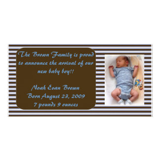 Baby Boy Announcement - Brown and Blue Card