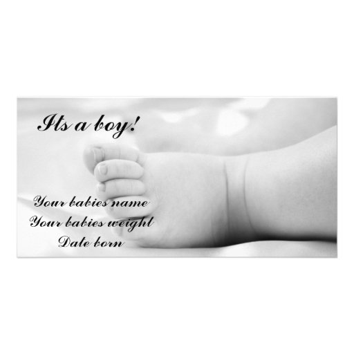Baby boy announcement card photo greeting card