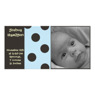 baby boy announcement photo card