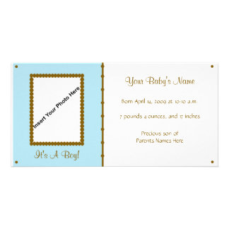 Baby boy Announcement Picture Card