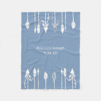 Baby Boy Arrows and Feathers Personalized Blanket