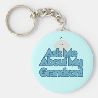 Baby Boy Ask About My Grandson Tshirts and Gifts Basic Round Button Keychain
