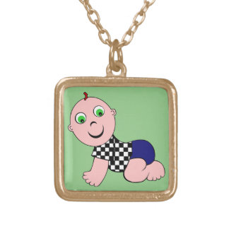 Baby Boy Bald Gold Plated Necklace