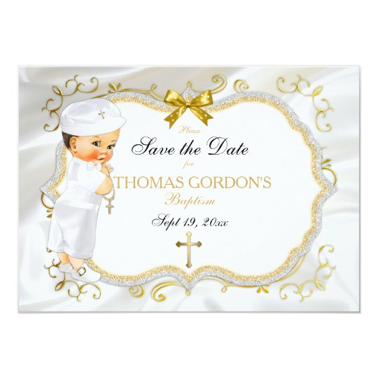 Baby Boy Baptism Save Date White Gold Cross Card