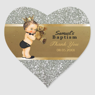 Baby Boy Baptism Thank You  Favor | Gold Silver Heart Sticker